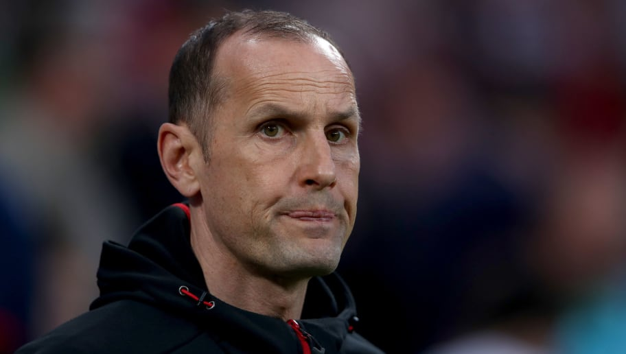 LEVERKUSEN, GERMANY - APRIL 17:  Heiko Herrlich, head coach of Leverkusen looks on before the DFB Cup semi final match between Bayer 04 Leverkusen and Bayern Munchen at BayArena on April 17, 2018 in Leverkusen, Germany.  (Photo by Alex Grimm/Bongarts/Getty Images)
