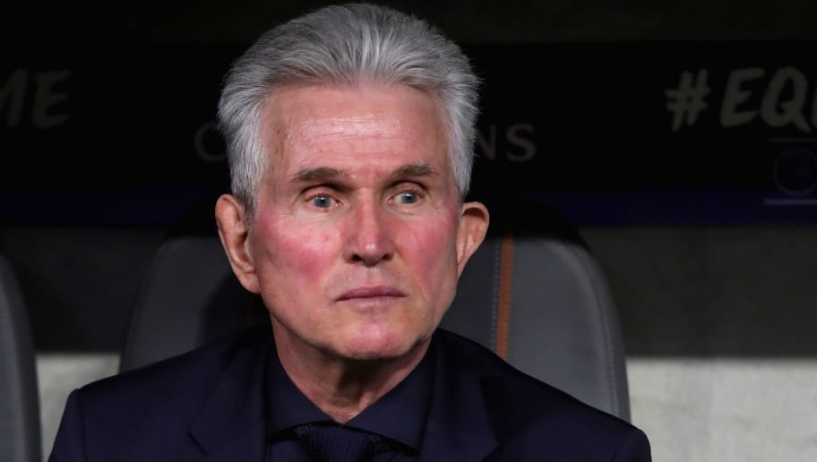 MUNICH, GERMANY - APRIL 11:  Jupp Heynckes, head coach of Bayern Muenchen looks on prior to the UEFA Champions League Quarter Final Second Leg match between Bayern Muenchen and Sevilla FC at Allianz Arena on April 11, 2018 in Munich, Germany.  (Photo by Alexander Hassenstein/Bongarts/Getty Images)