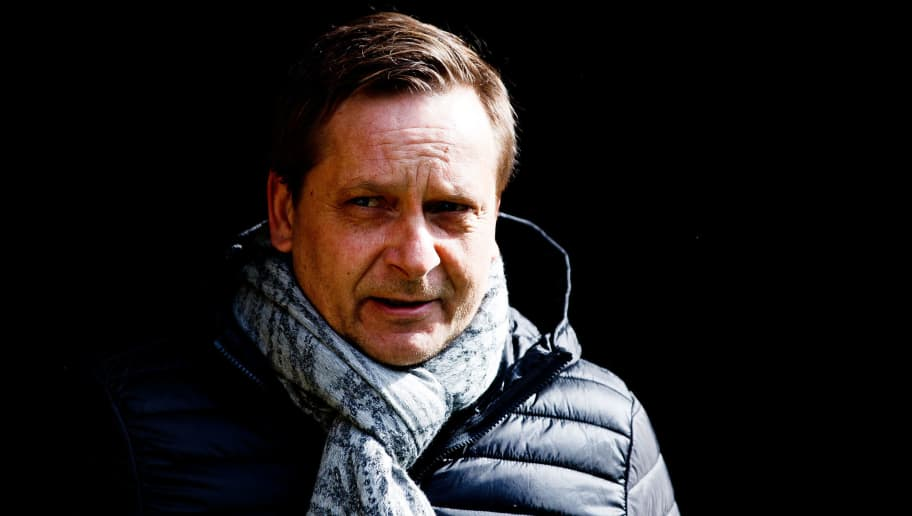 DORTMUND, GERMANY - MARCH 18:  Manager Horst Heldt of Hannover is seen during the Bundesliga match between Borussia Dortmund and Hannover 96 at Signal Iduna Park on March 18, 2018 in Dortmund, Germany.  (Photo by Lars Baron/Bongarts/Getty Images)