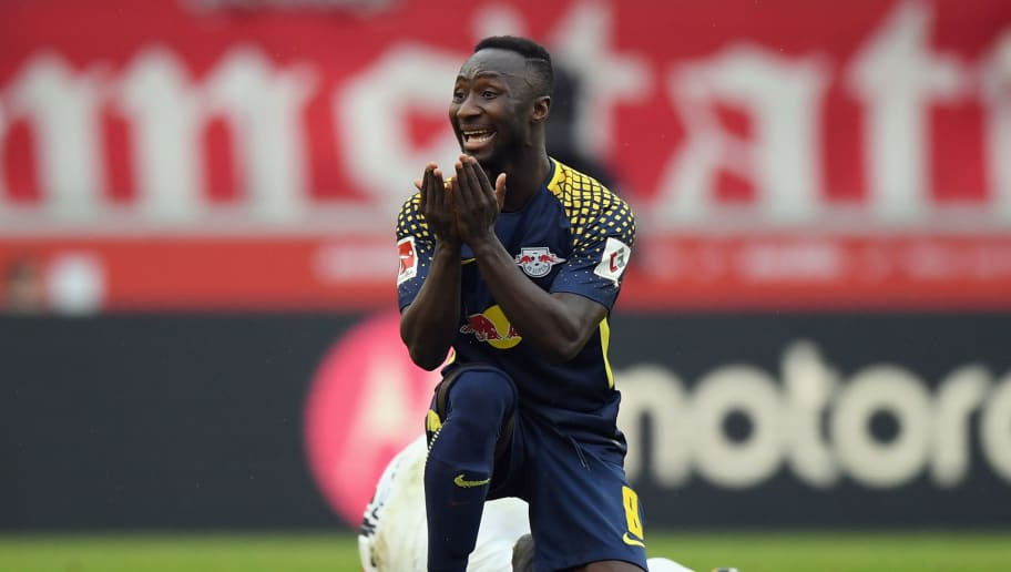 STUTTGART, GERMANY - MARCH 11: Naby Keita of Leipzig reacts during the Bundesliga match between VfB Stuttgart and RB Leipzig at Mercedes-Benz Arena on March 11, 2018 in Stuttgart, Germany.  (Photo by Matthias Hangst/Bongarts/Getty Images)