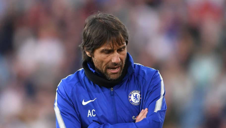 BURNLEY, ENGLAND - APRIL 19:  Antonio Conte, Manager of Chelsea reacts during the Premier League match between Burnley and Chelsea at Turf Moor on April 19, 2018 in Burnley, England.  (Photo by Laurence Griffiths/Getty Images)