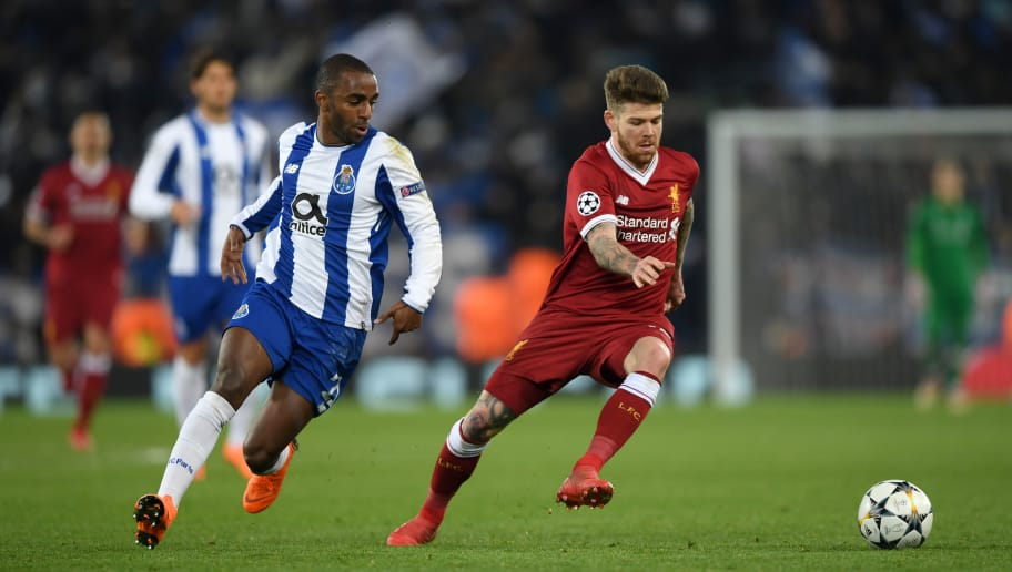 LIVERPOOL, ENGLAND - MARCH 06:  Alberto Moreno of Liverpool is challenged by Ricardo Pereira of FC Porto during the UEFA Champions League Round of 16 Second Leg match between Liverpool and FC Porto at Anfield on March 6, 2018 in Liverpool, United Kingdom.  (Photo by Shaun Botterill/Getty Images)