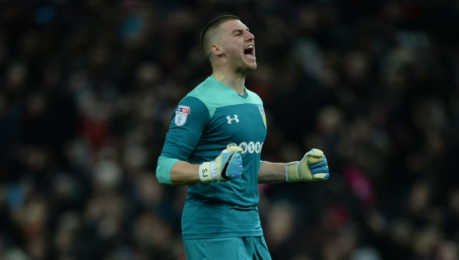 BIRMINGHAM, ENGLAND - MARCH 10: Sam Johnstone of Aston Villa celebrates during the Sky Bet Championship match between Aston Villa and Wolverhampton Wanderers at Villa Park on March 10, 2018 in Birmingham, England. (Photo by Nathan Stirk/Getty Images,)