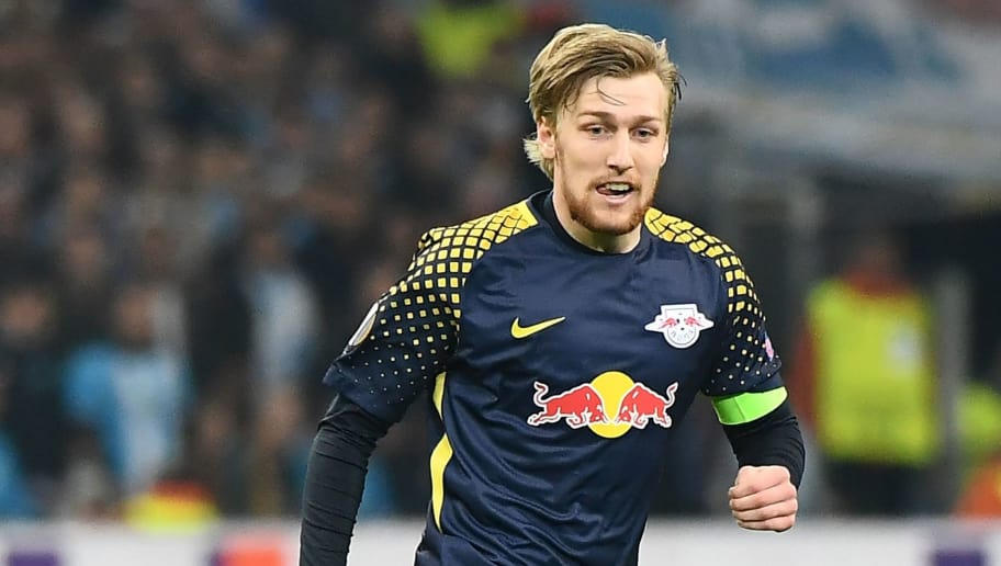 Leipzig's Swedish midfielder Emil Forsberg runs for the ball during the Europa League quarter final second leg football match between Olympique de Marseille (OM) and RB Leipzig at the Velodrome stadium in Marseille on April 12, 2018. / AFP PHOTO / BORIS HORVAT        (Photo credit should read BORIS HORVAT/AFP/Getty Images)