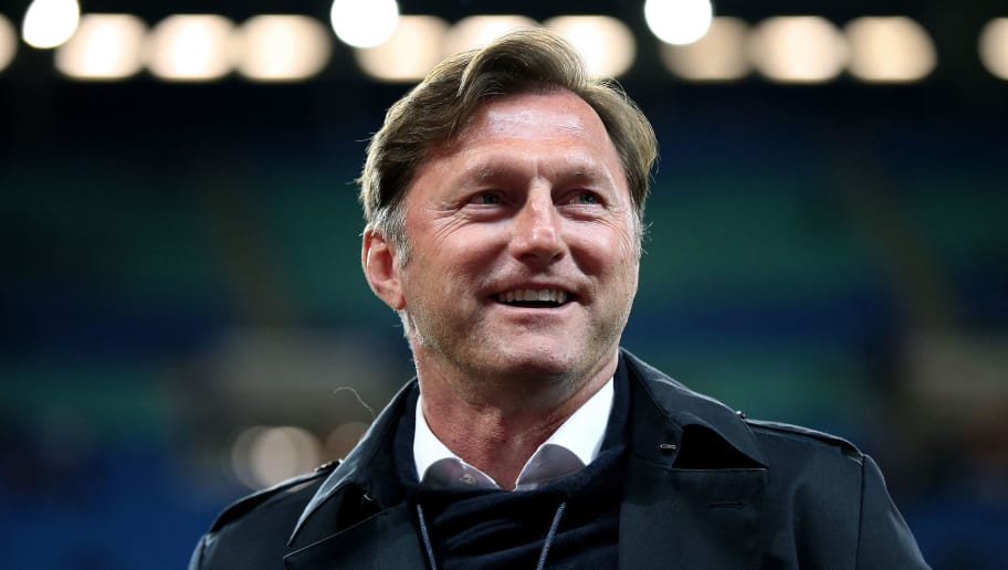 LEIPZIG, GERMANY - APRIL 05: Head coach Ralph Hasenhuettl of RB Leipzig smiles prior to the UEFA Europa League quarter final leg one match between RB Leipzig and Olympique Marseille at the Red Bull Arena on April 5, 2018 in Leipzig, Germany. (Photo by Ronny Hartmann/Bongarts/Getty Images)
