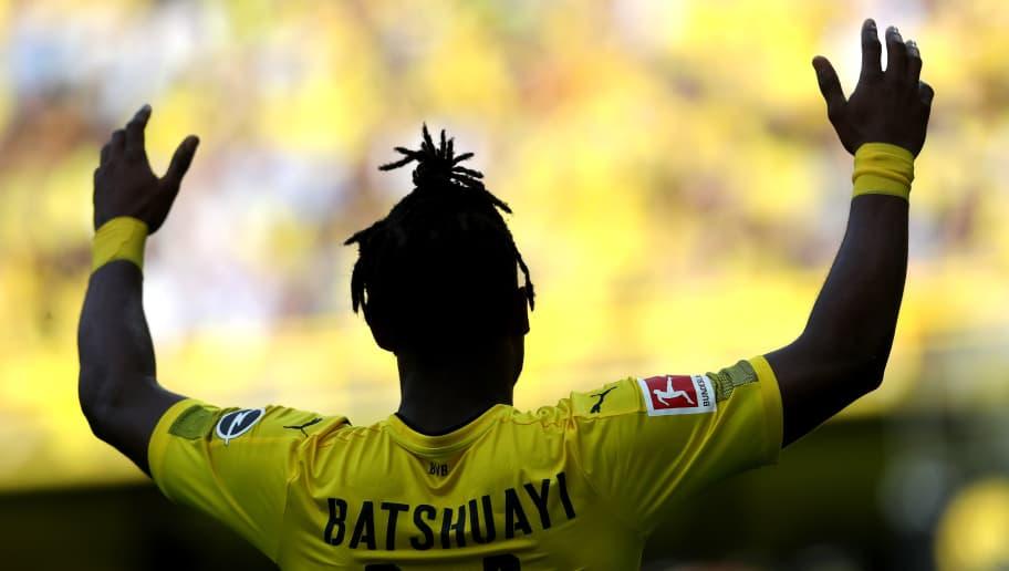 DORTMUND, GERMANY - APRIL 08: Michy Batshuayi of Dortmund is seen during the Bundesliga match between Borussia Dortmund and VfB Stuttgart at Signal Iduna Park on April 8, 2018 in Dortmund, Germany. (Photo by Christof Koepsel/Bongarts/Getty Images)