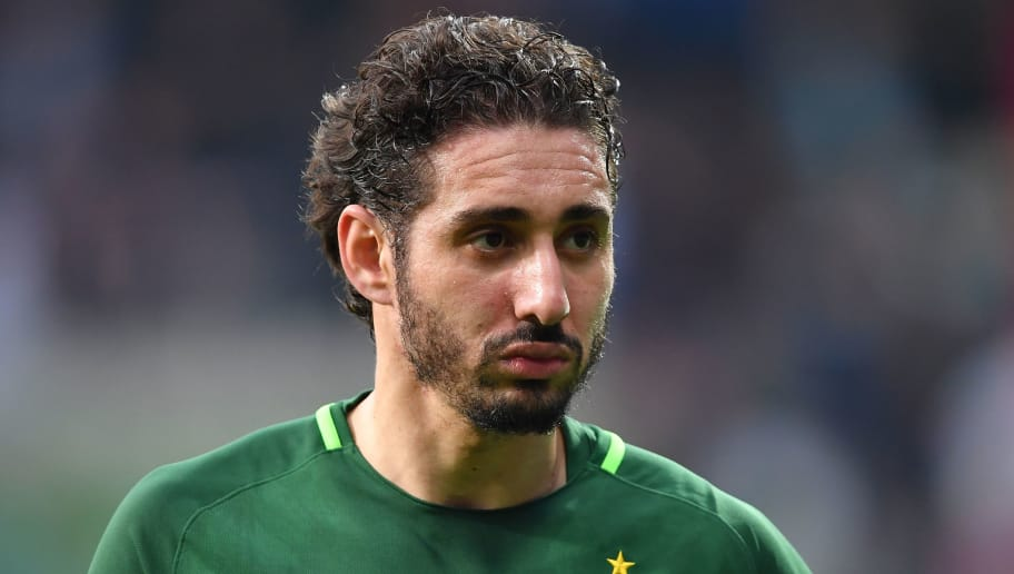 BREMEN, GERMANY - APRIL 15:  Ishak Belfodil of Bremen  looks on during the Bundesliga match between SV Werder Bremen and RB Leipzig at Weserstadion on April 15, 2018 in Bremen, Germany.  (Photo by Stuart Franklin/Bongarts/Getty Images)