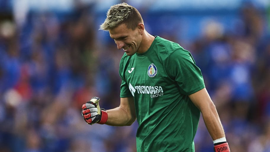 GETAFE, SPAIN - JUNE 24:  Vicente Guaita of Getafe CF reacts during La Liga 2 play off round between Getafe and CD Tenerife at Coliseum Alfonso Perez Stadium on June 24, 2017 in Getafe, Spain.  (Photo by Aitor Alcalde/Getty Images)