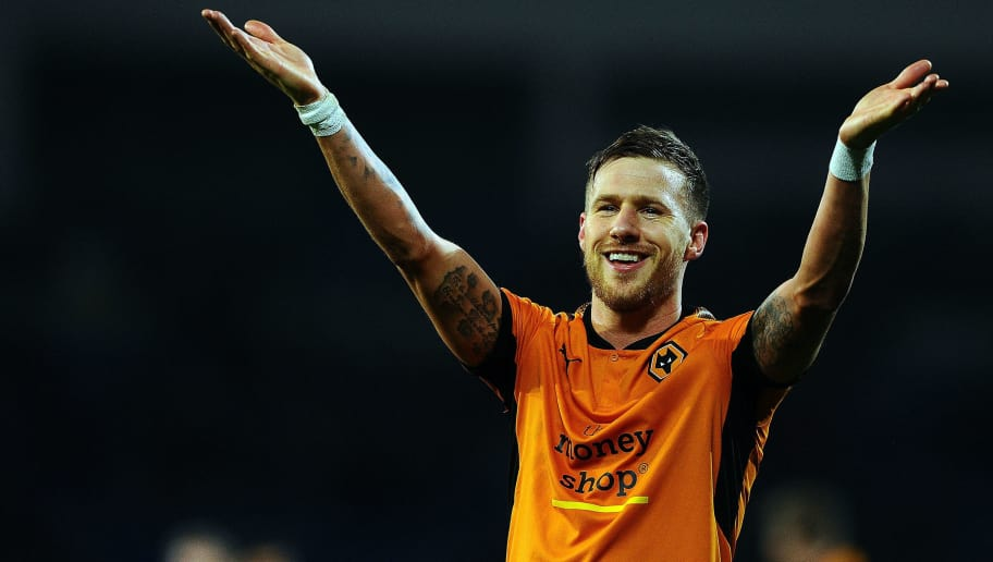 CARDIFF, WALES - APRIL 06:  Barry Douglas of Wolverhampton Wanderers celebrates victory during the Sky Bet Championship match between Cardiff City and Wolverhampton Wanderers at the Cardiff City Stadium on April 6, 2018 in Cardiff, Wales.  (Photo by Harry Trump/Getty Images)