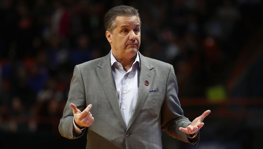 BOISE, ID - MARCH 15:  Head coach John Calipari of the Kentucky Wildcats reacts in the first half against the Davidson Wildcats during the first round of the 2018 NCAA Men's Basketball Tournament at Taco Bell Arena on March 15, 2018 in Boise, Idaho.  (Photo by Ezra Shaw/Getty Images)