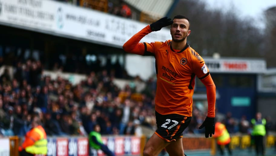 LONDON, ENGLAND - DECEMBER 26:  Romain Saiss of Wolves celebrates scoring his sides second goal during the Sky Bet Championship match between Millwall and Wolverhampton at The Den on December 26, 2017 in London, England.  (Photo by Jordan Mansfield/Getty Images)