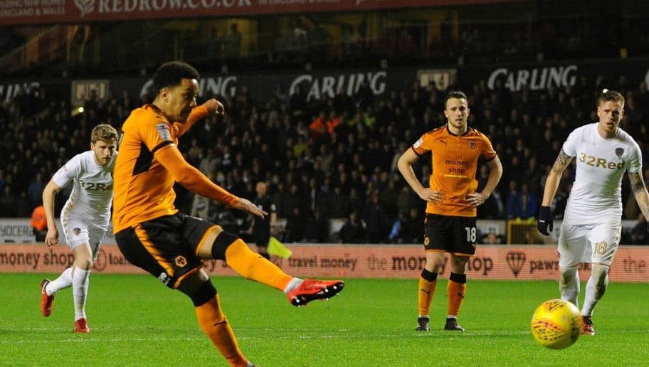 WOLVERHAMPTON, ENGLAND - NOVEMBER 22: Helder Costa of Wolverhampton Wanderers scores a penalty during the Sky Bet Championship match between Wolverhampton Wanderers and Leeds United at Molineux on November 22, 2017 in Wolverhampton, England. (Photo by Nathan Stirk/Getty Images)