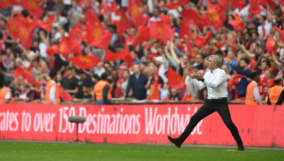 Manchester United's Portuguese manager Jose Mourinho shouts from the touchline just before the final whistle during the English FA Cup semi-final football match between Tottenham Hotspur and Manchester United at Wembley Stadium in London, on April 21, 2018. (Photo by Ben STANSALL / AFP) / NOT FOR MARKETING OR ADVERTISING USE / RESTRICTED TO EDITORIAL USE        (Photo credit should read BEN STANSALL/AFP/Getty Images)