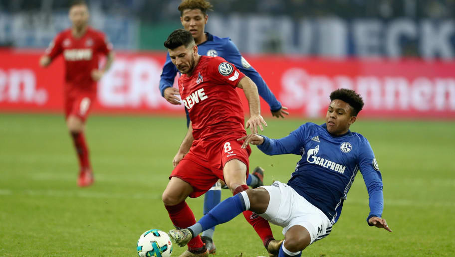 GELSENKIRCHEN, GERMANY - DECEMBER 19:  Weston McKennie (R) of Schalke battles for the ball with Milos Jojic (L) of Koeln during the DFB Cup match between FC Schalke 04 and 1.FC Koeln at Veltins-Arena on December 19, 2017 in Gelsenkirchen, Germany.  (Photo by Lars Baron/Bongarts/Getty Images)