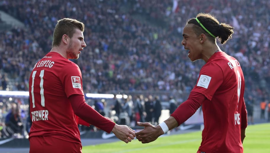 Leipzig's Yussuf Poulsen (R) congratulates team mate Leipzig's Timo Werner scoring during the German First division Bundesliga football match between Hertha Berlin and RB Leipzig in Berlin, Germany, on May 6, 2017. / AFP PHOTO / TOBIAS SCHWARZ        (Photo credit should read TOBIAS SCHWARZ/AFP/Getty Images)