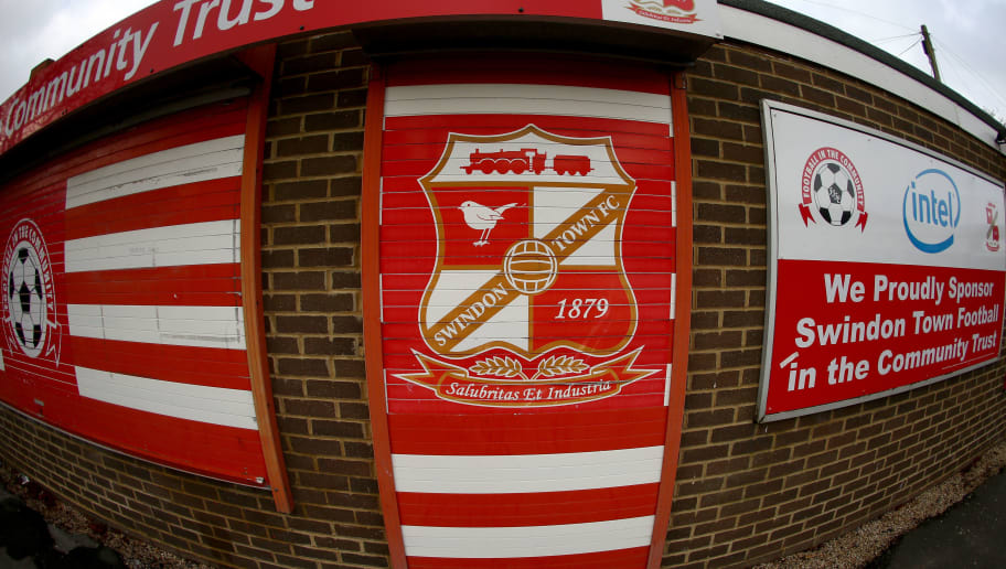 SWINDON, ENGLAND - NOVEMBER 15:  A General View of the Swindon Town club badge seen outside the County Ground prior to the Sky Bet League One match between Swindon Town and Bristol City at County Ground on November 15, 2014 in Swindon, England.  (Photo by Martin Willetts/Getty Images)