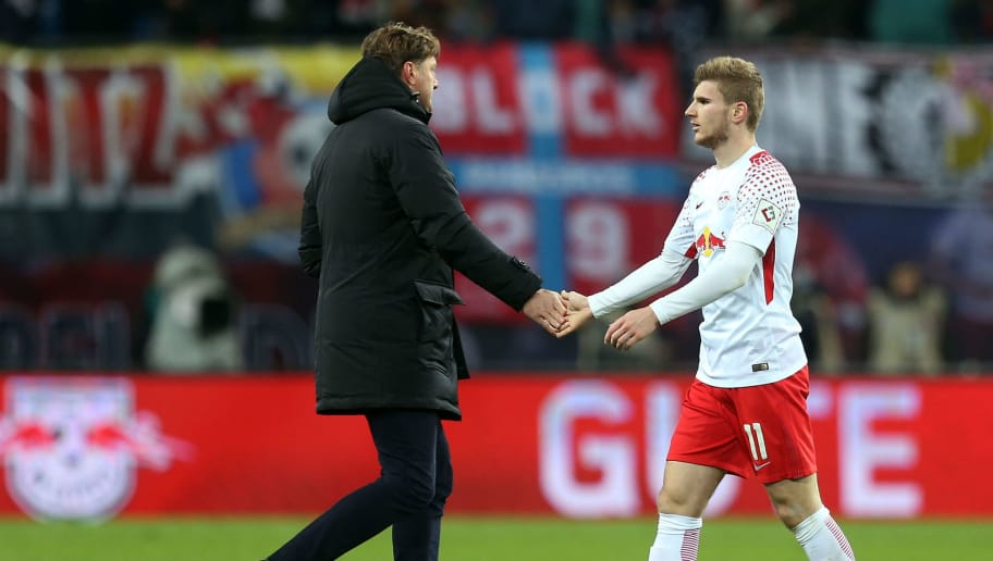 LEIPZIG, GERMANY - DECEMBER 09:  Head coach Ralph Hasenhuettl (L) of Leipzig and Timo Werner show their frustration after the Bundesliga match between RB Leipzig and 1.FSV Mainz 05 at Red Bull Arena on December 9, 2017 in Leipzig, Germany. (Photo by Matthias Kern/Bongarts/Getty Images)