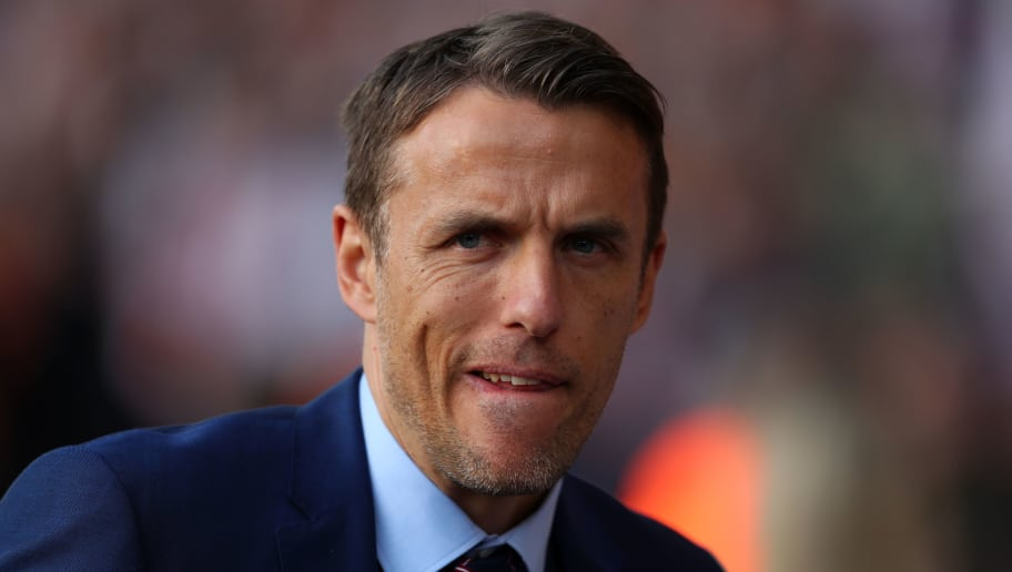 SOUTHAMPTON, ENGLAND - APRIL 06: England manager Phil Neville before the Women's World Cup Qualifier between England and Wales at St Mary's Stadium on April 6, 2018 in Southampton, England. (Photo by Catherine Ivill/Getty Images)