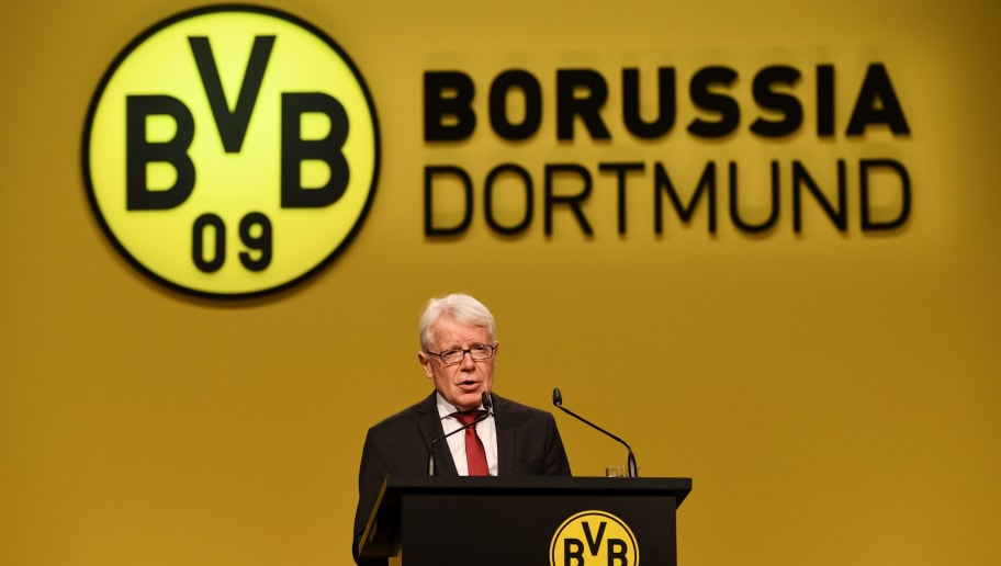 Reinhard Rauball, President of German first division Bundesliga football club Borussia Dortmund, gives a speech during the club's annual general meeting in Dortmund, western Germany, on November 26, 2017.  / AFP PHOTO / Patrik STOLLARZ        (Photo credit should read PATRIK STOLLARZ/AFP/Getty Images)