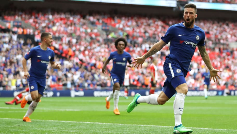 LONDON, ENGLAND - APRIL 22:  Olivier Giroud of Chelsea celebrates scoring the first goal during the The Emirates FA Cup Semi Final match between Chelsea and Southampton at Wembley Stadium on April 22, 2018 in London, England.  (Photo by Dan Istitene/Getty Images)