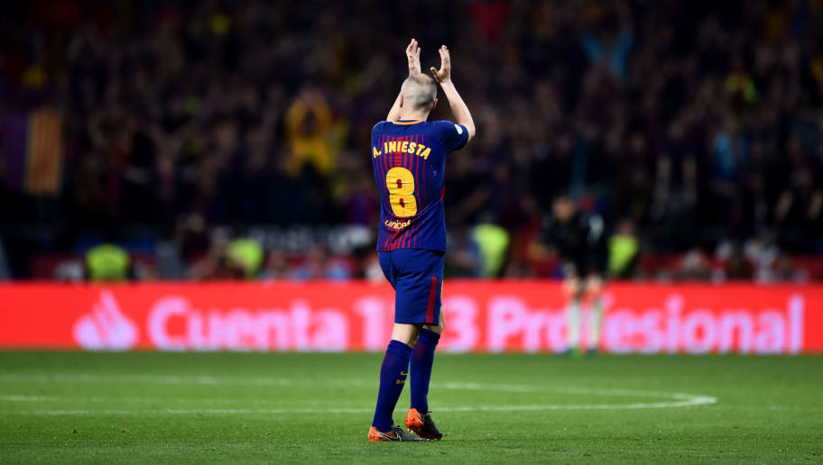 MADRID, SPAIN - APRIL 21: Andres Iniesta of Barcelona is subbed off in his last cup final during the Spanish Copa del Rey Final between Barcelona and Sevilla at Wanda Metropolitano on April 21, 2018 in Madrid, Spain. (Photo by Denis Doyle/Getty Images)