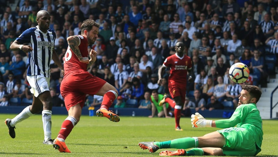 Liverpool's English striker Danny Ings (2L) has a shot but doesn't score during the English Premier League football match between West Bromwich Albion and Liverpool at The Hawthorns stadium in West Bromwich, central England, on April 21, 2018. (Photo by Lindsey PARNABY / AFP) / RESTRICTED TO EDITORIAL USE. No use with unauthorized audio, video, data, fixture lists, club/league logos or 'live' services. Online in-match use limited to 75 images, no video emulation. No use in betting, games or single club/league/player publications. /         (Photo credit should read LINDSEY PARNABY/AFP/Getty Images)