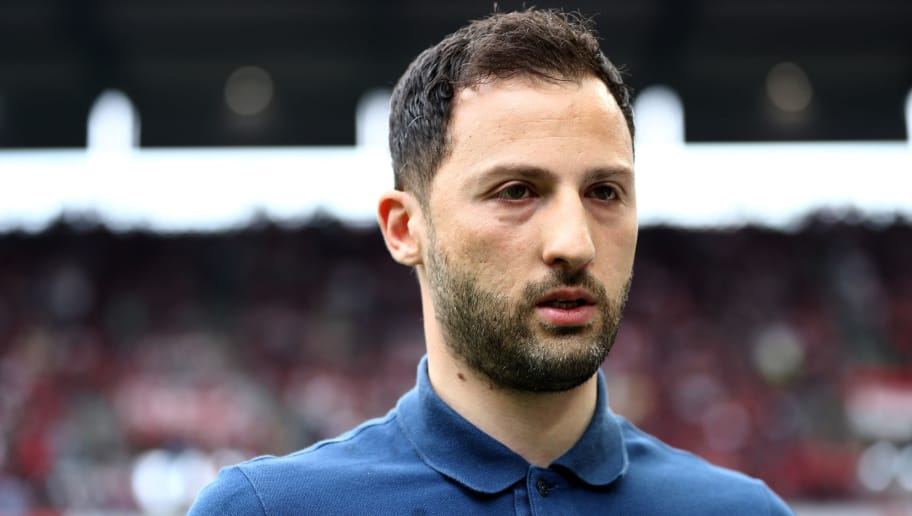 COLOGNE, GERMANY - APRIL 22:  Domenico tedesco, head coach of Schalke looks on before the Bundesliga match between 1. FC Koeln and FC Schalke 04 at RheinEnergieStadion on April 22, 2018 in Cologne, Germany.  (Photo by Lars Baron/Bongarts/Getty Images)