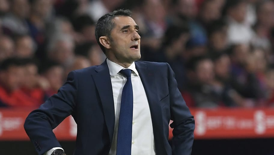 Barcelona's Spanish coach Ernesto Valverde reacts during the Spanish Copa del Rey (King's Cup) final football match Sevilla FC against FC Barcelona at the Wanda Metropolitano stadium in Madrid on April 21, 2018. (Photo by LLUIS GENE / AFP)        (Photo credit should read LLUIS GENE/AFP/Getty Images)