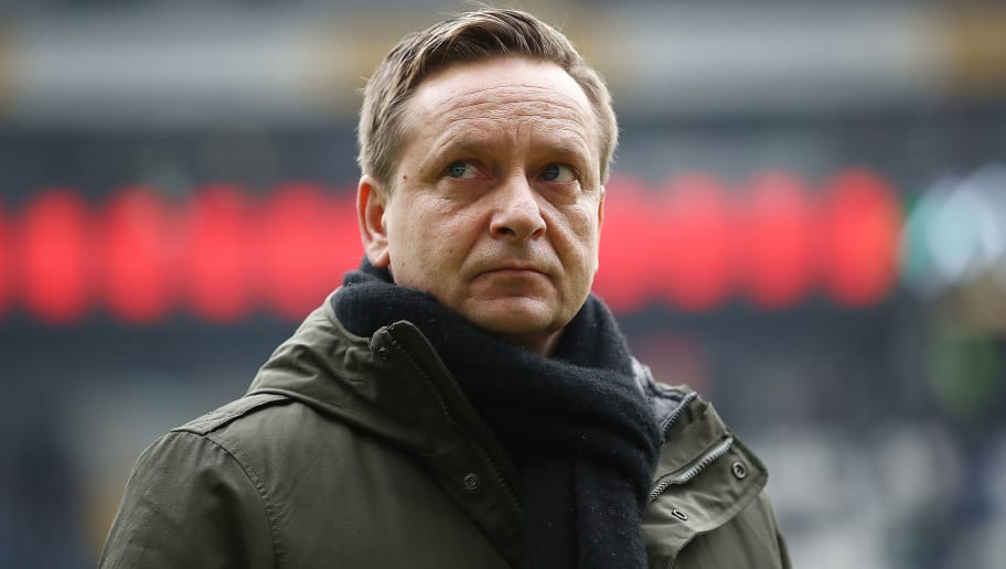 FRANKFURT AM MAIN, GERMANY - MARCH 03: Horst Heldt, sporting director of Hannover, looks on before the Bundesliga match between Eintracht Frankfurt and Hannover 96 at Commerzbank-Arena on March 3, 2018 in Frankfurt am Main, Germany. (Photo by Maja Hitij/Bongarts/Getty Images)