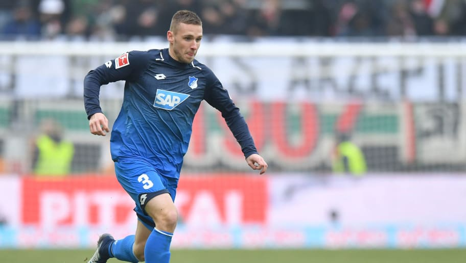 AUGSBURG, GERMANY - MARCH 03: Pavel Kaderabek of Hoffenheim plays the ball during the Bundesliga match between FC Augsburg and TSG 1899 Hoffenheim at WWK-Arena on March 3, 2018 in Augsburg, Germany. (Photo by Sebastian Widmann/Bongarts/Getty Images)