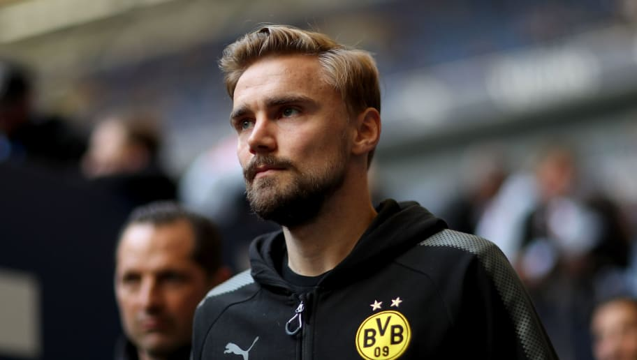 GELSENKIRCHEN, GERMANY - APRIL 15: Marcel Schmelzer of Dortmund looks on prior to the Bundesliga match between FC Schalke 04 and Borussia Dortmund at Veltins-Arena on April 15, 2018 in Gelsenkirchen, Germany. The match between Schalke and Dortmund ended 2-0 (Photo by Christof Koepsel/Bongarts/Getty Images)