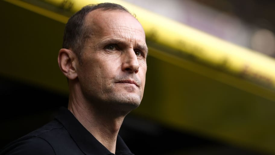 DORTMUND, GERMANY - APRIL 21: Heiko Herrlich head coach of Leverkusen looks on prior the Bundesliga match between Borussia Dortmund and Bayer 04 Leverkusen at Signal Iduna Park on April 21, 2018 in Dortmund, Germany. (Photo by Maja Hitij/Bongarts/Getty Images)