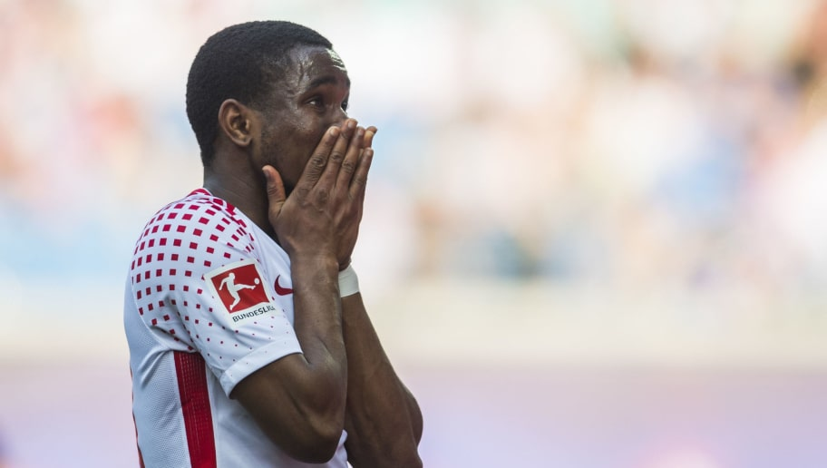 Leipzig's English forward Ademola Lookman reacts during the German first division Bundesliga football match between RB Leipzig and TSG Hoffenheim in Leipzig, eastern Germany on April 21, 2018. (Photo by ROBERT MICHAEL / AFP) / RESTRICTIONS: DURING MATCH TIME: DFL RULES TO LIMIT THE ONLINE USAGE TO 15 PICTURES PER MATCH AND FORBID IMAGE SEQUENCES TO SIMULATE VIDEO. == RESTRICTED TO EDITORIAL USE == FOR FURTHER QUERIES PLEASE CONTACT DFL DIRECTLY AT + 49 69 650050 / RESTRICTIONS: DURING MATCH TIME: DFL RULES TO LIMIT THE ONLINE USAGE TO 15 PICTURES PER MATCH AND FORBID IMAGE SEQUENCES TO SIMULATE VIDEO. == RESTRICTED TO EDITORIAL USE == FOR FURTHER QUERIES PLEASE CONTACT DFL DIRECTLY AT + 49 69 650050        (Photo credit should read ROBERT MICHAEL/AFP/Getty Images)