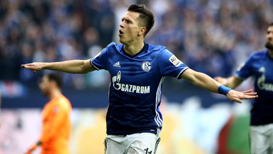 GELSENKIRCHEN, GERMANY - APRIL 15: Yevhen Konoplyanka of Schalke celebrates after he scores the opening goal  during the Bundesliga match between FC Schalke 04 and Borussia Dortmund at Veltins-Arena on April 15, 2018 in Gelsenkirchen, Germany.  (Photo by Alex Grimm/Bongarts/Getty Images)