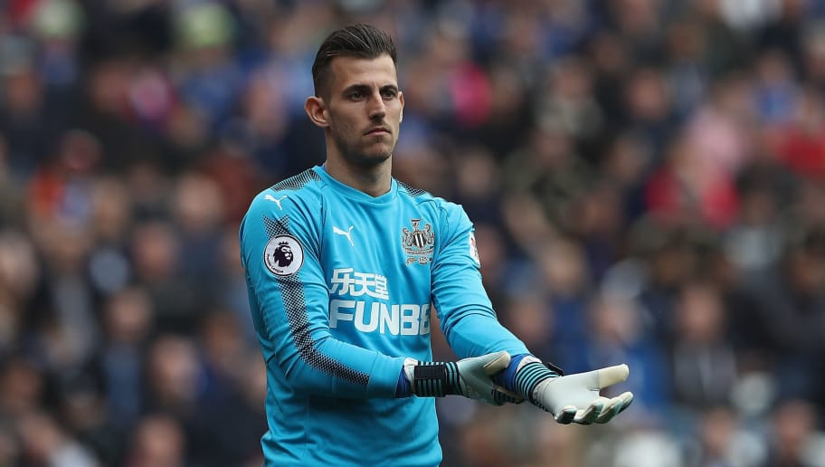 LEICESTER, ENGLAND - APRIL 07:  Martin Dubravka of Newcastle United in action during the Premier League match between Leicester City and Newcastle United at The King Power Stadium on April 7, 2018 in Leicester, England.  (Photo by Matthew Lewis/Getty Images)