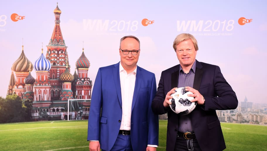 HAMBURG, GERMANY - APRIL 23:  Oliver Welke and Oliver Kahn pose for a picture during the ARD and ZDF FIFA World Cup presenter team presentation on April 23, 2018 in Hamburg, Germany.  (Photo by Stuart Franklin/Bongarts/Getty Images)
