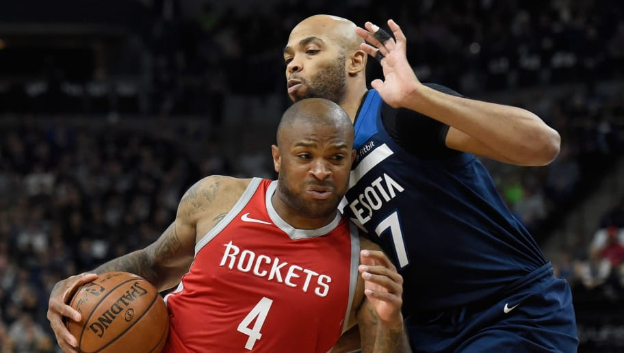 a57e79aefb43 Rockets Forward PJ Tucker Exits for the Locker Room With Apparent Knee  Injury