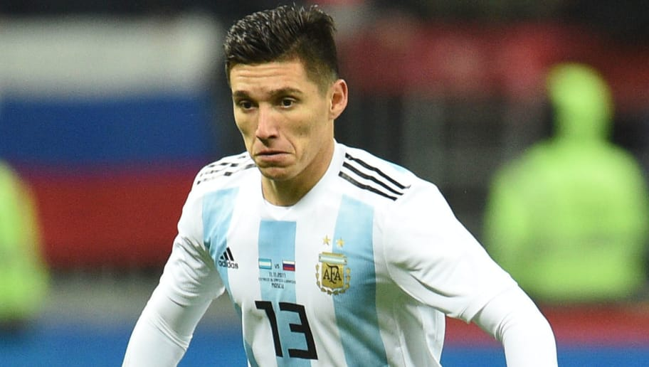 MOSCOW, RUSSIA - NOVEMBER 11: Matias Kranevitter of Argentina drives the ball during an international friendly match between Russia and Argentina at Luzhniki Stadium on November 11, 2017 in Moscow, Russia. (Photo by Epsilon/Getty Images)