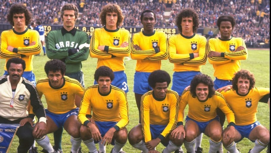 24 Jun 1978:  The Brazilian team before the World Cup Semi-Final match against Italy at the Monumental Stadium in Buenos Aires, Argentina. Brazil won the match 2-1. \ Mandatory Credit: Allsport UK /Allsport