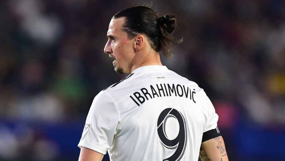 Zlatan Ibrahimovic of LA Galaxy looks on during the Major League Soccer match between Atlanta United and LA Galaxy in Carson, California on April 21, 2018. (Photo by Frederic J. BROWN / AFP)        (Photo credit should read FREDERIC J. BROWN/AFP/Getty Images)
