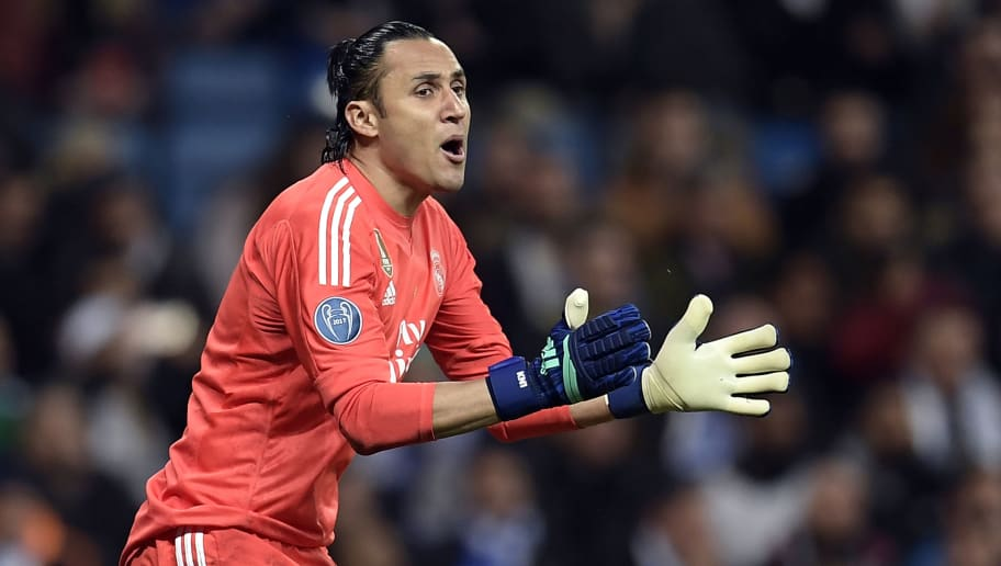 Real Madrid's Costa Rican goalkeeper Keylor Navas reacts during the UEFA Champions League quarter-final second leg football match between Real Madrid CF and Juventus FC at the Santiago Bernabeu stadium in Madrid on April 11, 2018. / AFP PHOTO / OSCAR DEL POZO        (Photo credit should read OSCAR DEL POZO/AFP/Getty Images)
