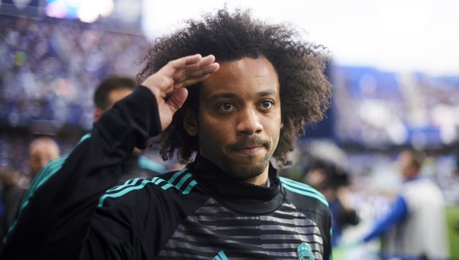 MALAGA, SPAIN - APRIL 15: Marcelo Vieira da Silva of Real Madrid reacts on prior to the start the La Liga match between Malaga CF and Real Madrid CF at Estadio La Rosaleda on April 15, 2018 in Malaga, Spain.  (Photo by Aitor Alcalde/Getty Images)