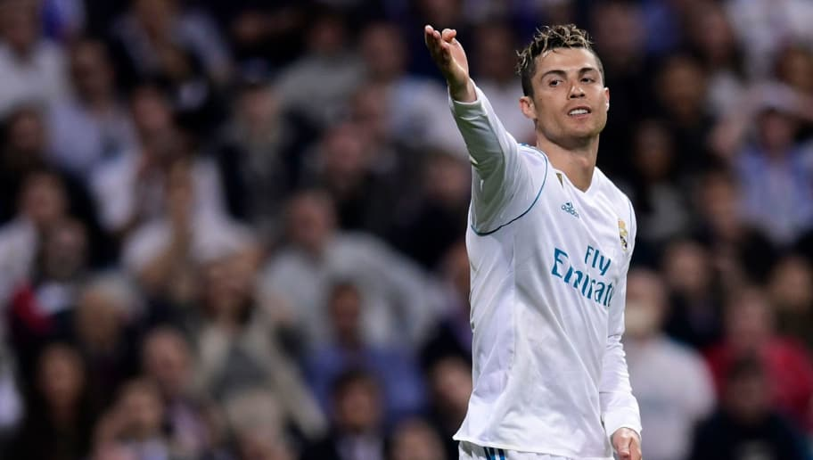 Real Madrid's Portuguese forward Cristiano Ronaldo reacts during the Spanish league football match Real Madrid CF against Athletic Club Bilbao at the Santiago Bernabeu stadium in adrid on April 18, 2018. / AFP PHOTO / JAVIER SORIANO        (Photo credit should read JAVIER SORIANO/AFP/Getty Images)
