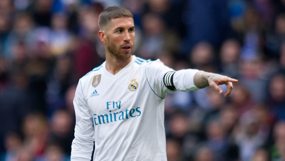 MADRID, SPAIN - APRIL 08: Sergio Ramos of Real Madrid gets ready to take a free kick during the La Liga match between Real Madrid and Atletico Madrid at Estadio Santiago Bernabeu on April 8, 2018 in Madrid, Spain. (Photo by Denis Doyle/Getty Images)