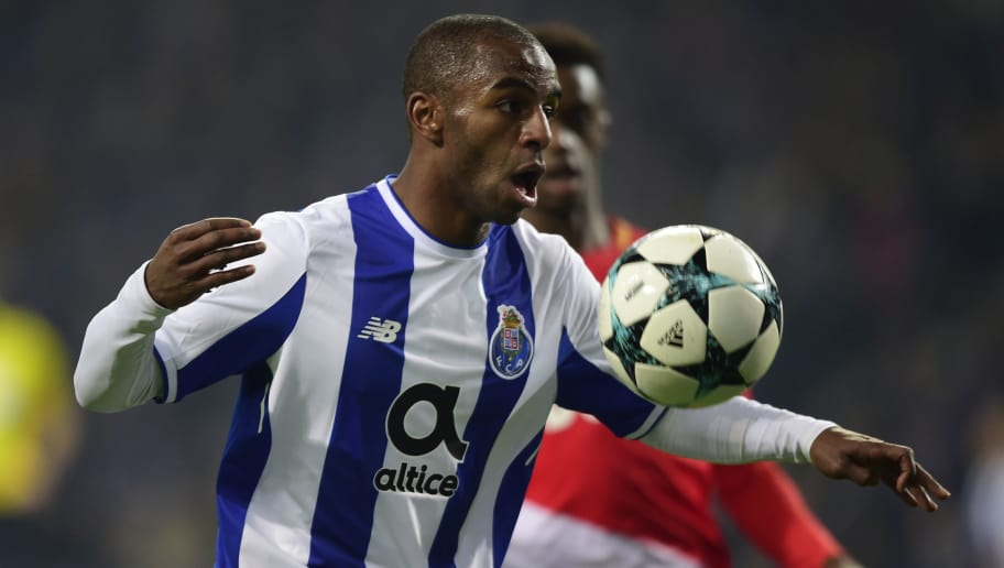 Porto's Portuguese defender Ricardo Pereira (L) controls the ball beside Monaco's French forward Adama Diakhaby during their UEFA Champions League group G football match FC Porto vs Monaco at the Dragao stadium in Porto, on December 6, 2017. / AFP PHOTO / MIGUEL RIOPA        (Photo credit should read MIGUEL RIOPA/AFP/Getty Images)