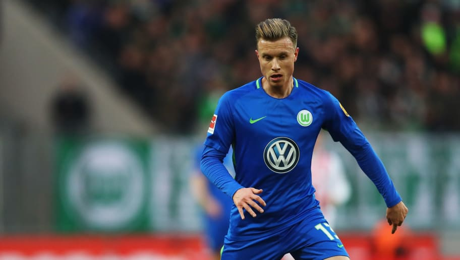 COLOGNE, GERMANY - DECEMBER 16:  Yannick Gerhardt of Wolfsburg in action during the Bundesliga match between 1. FC Koeln and VfL Wolfsburg at RheinEnergieStadion on December 16, 2017 in Cologne, Germany.  (Photo by Dean Mouhtaropoulos/Bongarts/Getty Images)