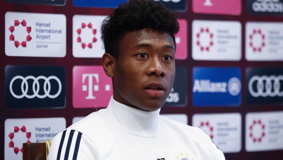 DOHA, QATAR - JANUARY 05:  David Alaba talks to the media during a press conference on day 4 of the FC Bayern Muenchen training camp at Moevenpick Al Aziziyah Hotel on January 5, 2018 in Doha, Qatar. on January 5, 2018 in Doha, Qatar.  (Photo by Alex Grimm/Bongarts/Getty Images)