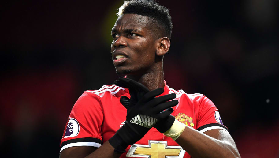 MANCHESTER, ENGLAND - JANUARY 15: Paul Pogba of Manchester United reacts following the Premier League match between Manchester United and Stoke City at Old Trafford on January 15, 2018 in Manchester, England.  (Photo by Michael Regan/Getty Images)