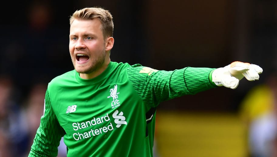 WATFORD, ENGLAND - AUGUST 12: Simon Mignolet of Liverpool gestures during the during the Premier League match between Watford and Liverpool at Vicarage Road on August 12, 2017 in Watford, England. (Photo by Alex Broadway/Getty Images)