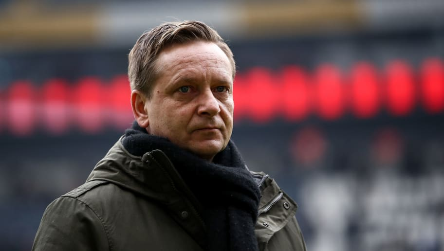 FRANKFURT AM MAIN, GERMANY - MARCH 03: Horst Heldt, sporting director of Hannover, looks on prior the Bundesliga match between Eintracht Frankfurt and Hannover 96 at Commerzbank-Arena on March 3, 2018 in Frankfurt am Main, Germany. (Photo by Maja Hitij/Bongarts/Getty Images)